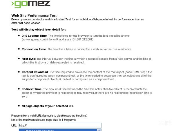 gomeznetworks 18 Website Speed and Performance Checking Tools