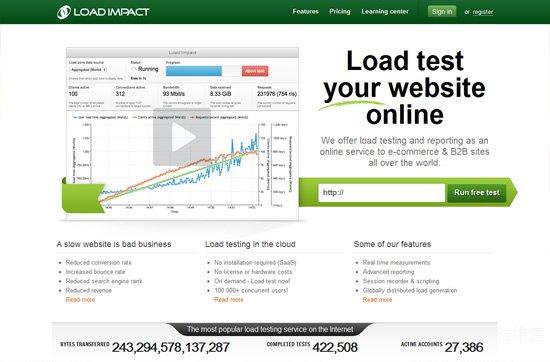Website speed testing tool: Load Impact